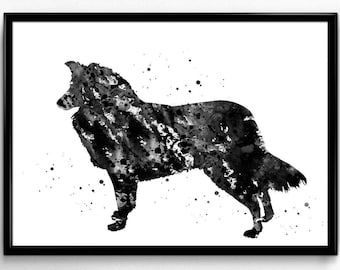 Border Collie, Dog Watercolor Print, Animal art, Pet Watercolor, Poster, Instant Download, Room Decor, gift, printable wall art  (696)