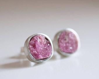 Gretel earrings. Sterling silver earrings with Cobaltocalcite. Cobaltocalcite studs, silver studs, pink studs, druzy pink, druzy gemstone.