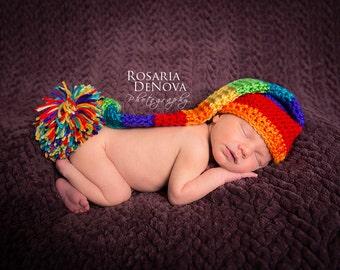 Elf Hat, Crochet Baby Hat, Rainbow Hat, Baby Newborn Hat, Photo Prop, Newborn Baby Hat, Crochet Newborn Hat, Baby Boy Hat, Baby Girl Hat