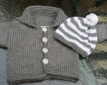 Gray Cardigan Baby Sweater, Baseball Buttons, Gray and White Striped Hat, Gift for Baby,  FREE SHIPPING,  by hipknitta