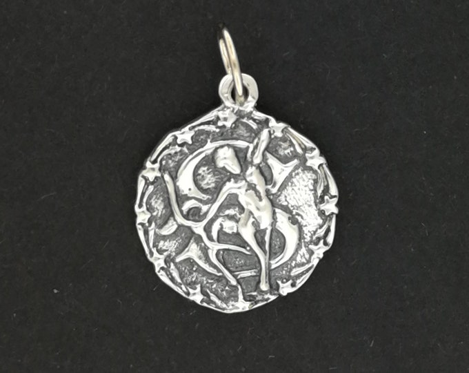 Zodiac Medallion Sagittarius in Sterling Silver