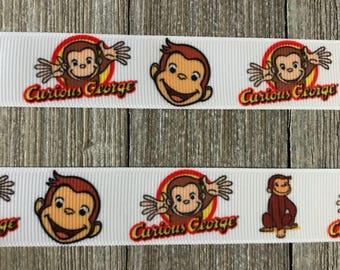 Curious George Inspired Ribbon, Monkey Ribbon
