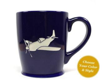 Airplane Coffee Mug - Choose Your Cup Color