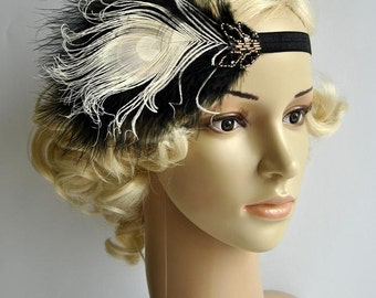 Black Ivory Flapper Headband,The Great Gatsby headpiece, 1920s Flapper Feather Headband, Vintage Inspired,1930's, Feather, Art Deco headband