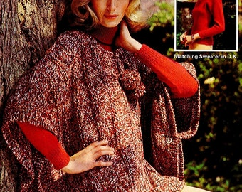 INSTANT DOWNLOAD PDF Vintage Knitting Pattern  Poncho Cape Sweater Chunky