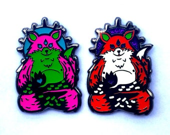 limited edition third eyed  Spirit fox  2-pack with glow and glitter pins
