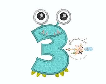 Number 3 monster applique, Monster applique, third birthday, monster theme, birthday applique, monster, applique, embroidery design