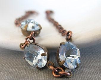 Rhinestone Bracelet, Blue Bracelet, Sapphire Jewel, Copper Chain, Chain Bracelet, Vintage Glass, Copper Bracelet, Light Sapphire Blue
