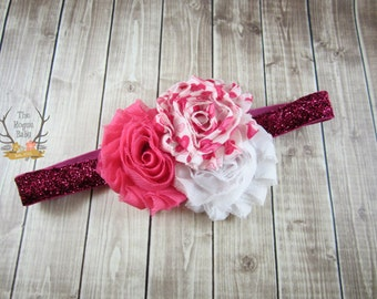 Headband - Pink White Hearts - Glitter - Newborn Infant Baby Toddler Girls - Pretty in Pink - Sweetheart - Baby Girl