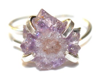 Tiny Purple Stalactite Ring Amethyst Stalactite Silver Ring Adjustable Druzy Ring Stalactite Jewelry Amethyst Jewelry Druzy Jewelry Drusy
