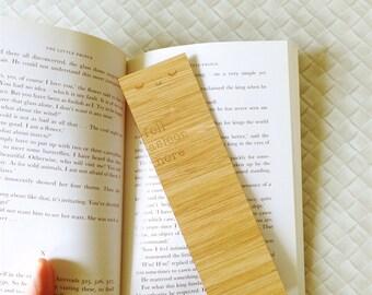Laser Cut Bamboo Wooden Bookmark - Fell Asleep Here