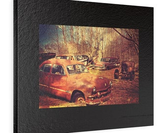 Old Cars Horizontal Leather Gallery Wraps