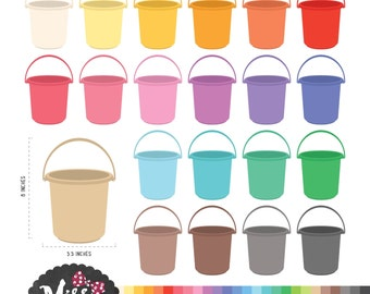 26 Colors Buckets Clipart - Instant Download