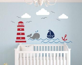 Nautical Theme Wall Decal - Nursery Wall Decal - Whale Wall Decal - Sailboat Wall Decal - Nautical Baby Nursery Decor - Little Sailor Decal