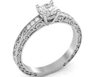 White Gold Engagement Ring Vintage Ring Filigree Shank .06 ct Diamonds Semi Mount for Round Center Brand New 14K Setting Only or Moissanite