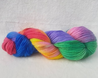 Hand Dyed Yarn, Hand Dyed Wool, Aran Hand Dyed Yarn, Rainbow Hand Dyed Yarn, Rainbow Wool, Pure wool rainbow yarn, 100% wool hand dyed