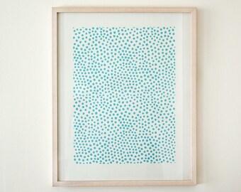 Original woodcut poster big dots light blue