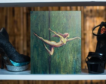 Light as Air - Wood print of a painting - pole dancer