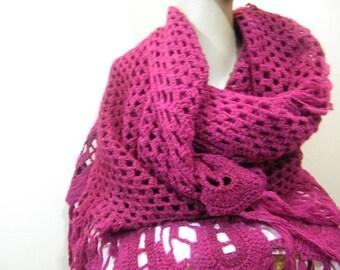 Ladies knit/crochet shawl/deep merlot with fringe