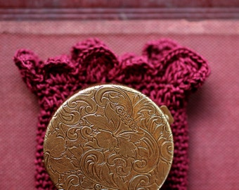 Vespertina Solid Natural Perfume in a Round Compact in a deep red crochet pouch - Inspired by the music and story of the mythic heroine