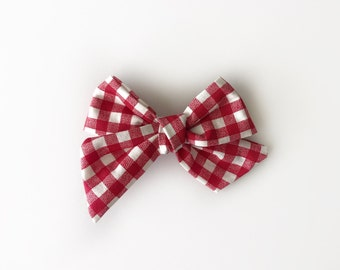 Red Gingham Twirl Bow