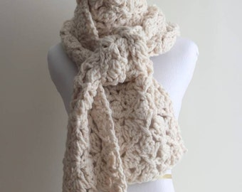 CROCHETED SCARF, cable texture scarf, cream white scarf, chunky cream white scarf, hand made scarf, lambs wool blend, soft and easy to wear