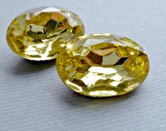 Two Czech 18x13mm Jonquil Yellow Oval Glass Rhinestone Jewels (7-38-2)