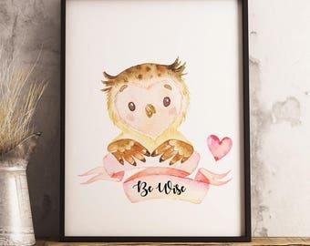 Girls Nursery Forest Owl Art, Forest Friends Nursery Decor, Woodland Nursery Wall Art Girl,Woodlands Animal Nursery,Rustic Nursery - Be Wise