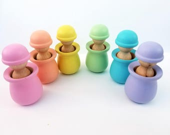 Color matching toy, Easter gift, pastel matching game, pastel peg dolls, Montessori toddler, Waldorf toy, Toddler toy, wooden peg dolls