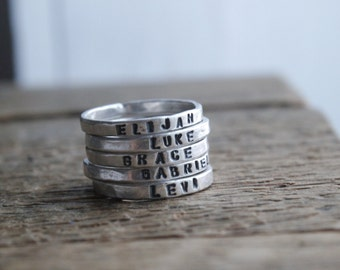 Personalized rings, 2mm fine silver, stacking rings, kids name rings, mothers day gift, gift for her, rustic, organic silver ring, stackies