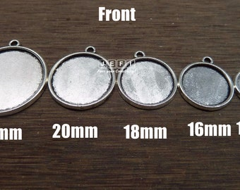 Pendant Trays 12mm/ 14mm/ 16mm/ 18mm/ 20mm/ 25mm Round Bezel Setting W/ Ring Antique Silver Zinc Alloy