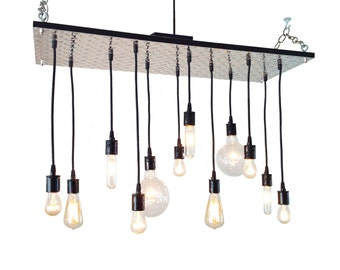 Industrial Chandelier: Diamond Plate, Industrial Lighting, Edison Bulb Chandelier, Man Cave, Muscle Cars, Urban Chandelier,