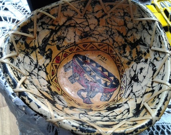 Vintage Fiji Souvenir Coconut Shell Bowl