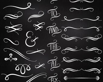 Chalkboard Flourishes Clipart Clip Art, Chalk Board Sign Clipart Clip Art Vectors - Commercial and Personal Use