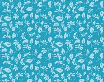 Riley Blake Splendor Fabric - Vine and Leaf Fabric - Light and Dark Aqua - Yardage - Cotton Material/Fat Quarter, Half, By The Yard