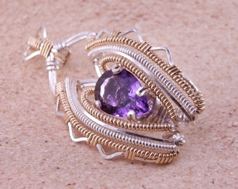 Amethyst  Wire Wrapped Gold Pendant - Amethyst Necklace - Amethsyt Wire Wrap - Wire Wrapped Amethyst - Amethyst pear cut - Heady Wire Wrap