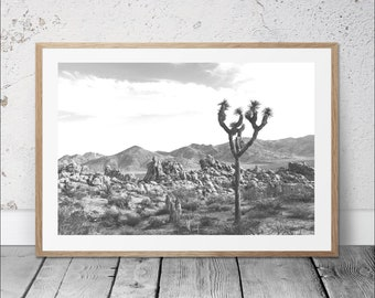 Joshua tree print, desert tree wall art, desert printable art, joshua tree cactus print, digital print, modern home decor, grey wall decor
