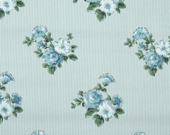 1940s Vintage Wallpaper by the Yard - Floral Wallpaper with Blue Flowers on Pinstripe