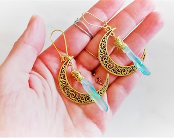 Crystal Earrings, Aura Crystal Earrings, Celestial Earrings, Crescent Moon Earrings, Raw Stone Earrings, Boho Earrings, Aura Quartz Earrings