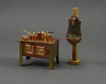 Vintage Lot 6pc. Copper Metal Kitchen Stove Wall Wash Basin Dollhouse Miniature Furniture Collector Set 1:12 Scale