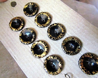 Vintage Czech Ceramic Buttons Hand Painted Black Gold luster two hole On Card