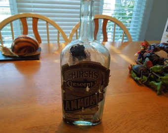 Vintage Bottle.  Hirsh's Crescent Brand Ammonia