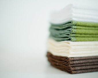 Baby Cloth Wipes - Reusable Baby Cloth Diaper Wipes - Set of 20  Wipes - Solid Brown, White, Cream, and Green - Double Layer