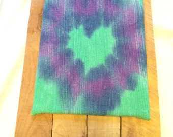 """Green blue and purple tie dyed heart on canvas. 8x10"""" wall hanging wall art"""