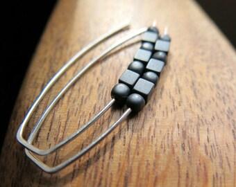 soft black earrings. sterling silver earings. hematite jewellery.