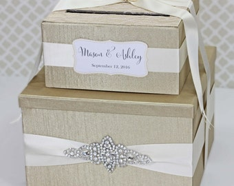 2 Tier Champagne Wedding card Box Crystal Card Holder Custom Made in your Color