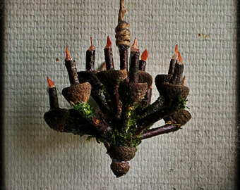 Faery Acorn Chandelier, fairy houses, dollhouses, miniatures, waldorf, woodland, natural materials