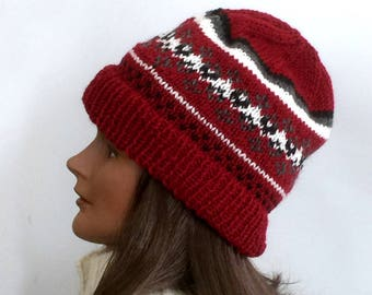 Fair Isle beanie, hand knit wool hat, Icelandic wool hat, red knit hat, Nordic wool hat, wool knit ski cap, Fair Isle knit hat, wool hat