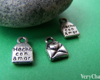 50 pc of Antique Silver Heart Mail Charms 6x8mm A1324
