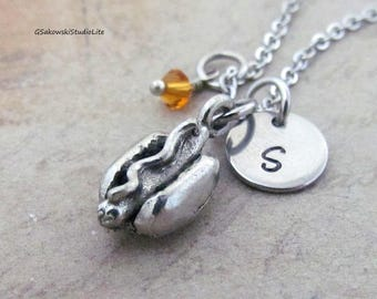Hot Dog Charm Necklace, Personalized Hand Stamped Initial Birthstone Antique Silver Hot Dog Charm Necklace